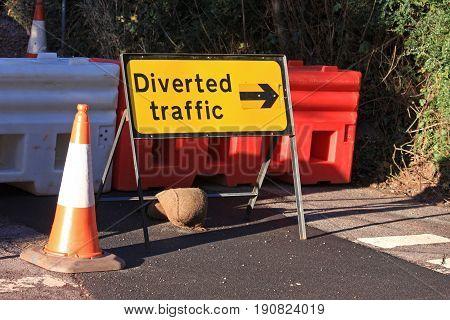 Road diversion sign marking a road closure
