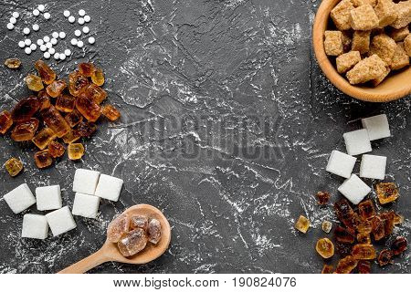 Lumps Of Sugar In Bowls On Dark Table Background Top View Space For Text