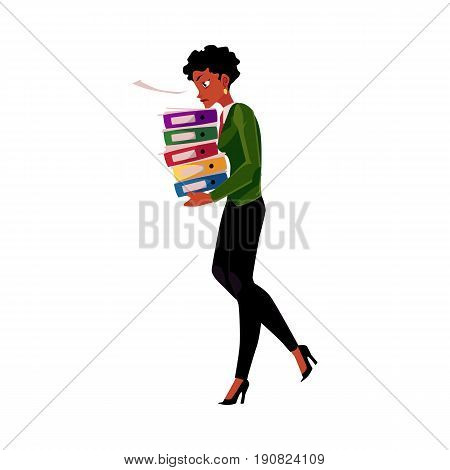 Black, African American businesswoman, woman carrying heavy pile of document folders, cartoon vector illustration isolated on white background. Black stressed businesswoman with folders of documents