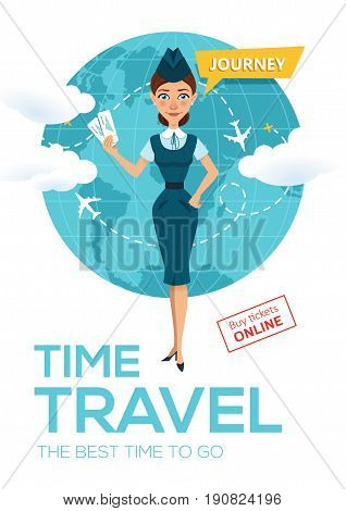 Online flight booking service. Buy tickets online. Advertising poster, banner. Stewardess keeps air tickets and offers to go on trip around world. Vector illustration