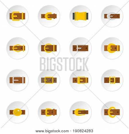 Belt buckles icons set in flat style isolated vector icons set illustration
