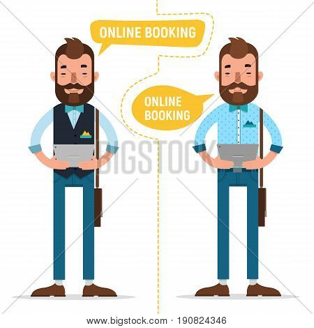 Online Booking. Man with tablet making online order, booking accommodation hostel, booking tickets for concert on tablet