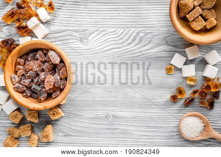 Lumps Of Sugar In Bowls On Gray Table Background Top View Space For Text