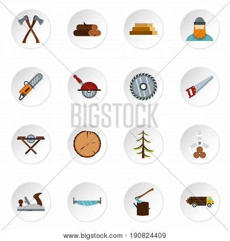Timber industry icons set in flat style. Lumberjack equipment set collection vector icons set illustration