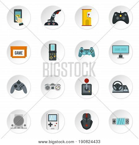 Video game icons set in flat style. Game controllers set collection vector icons set illustration