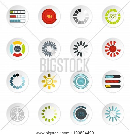 Download progress icons set in flat style. Load indicators set collection vector icons set illustration