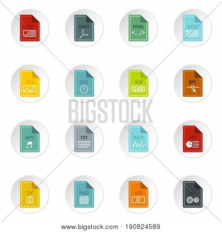 File format icons set in flat style. Document files set collection vector icons set illustration