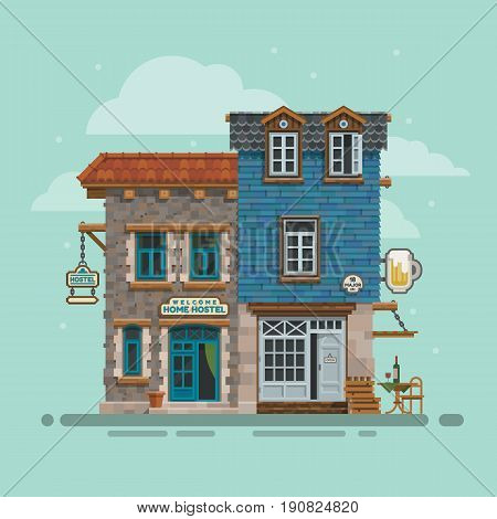 Beautiful detailed lodging and accommodation building facade. Youth hostel, bar for season vacation. Street view low budget guest house with bead and breakfast. Vector illustration for travel business