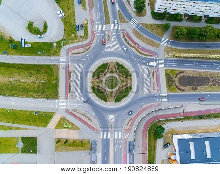 Bird-eye view of the crossroads in Sopot Poland