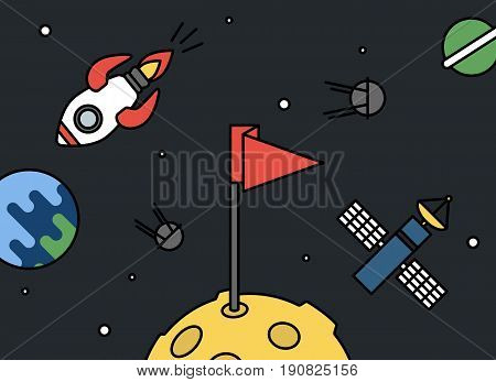 Moon with flag and universe around - rocket, earth, satellites and space station retro style, achievement or success vector
