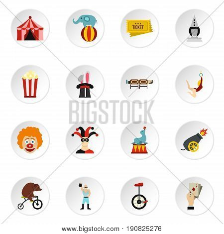 Circus entertainment icons set in flat style. Circus animals and characters set collection vector icons set illustration