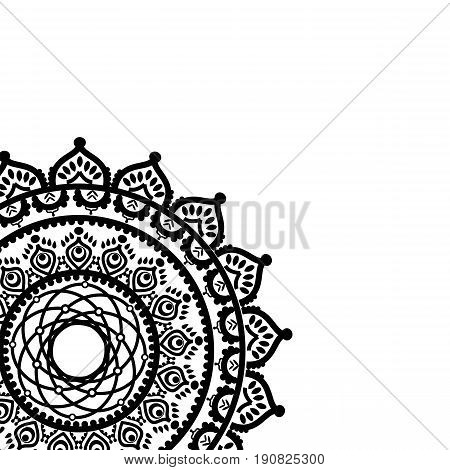 Asian culture inspired partial mandala in the shape of the native culture inspired dreamcatcher  made out of swirly elements  in  black ans white symbolizing happiness, love and spiritual life