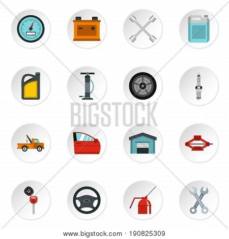 Car maintenance and repair icons set in flat style. Auto service set collection vector icons set illustration