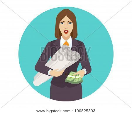 Businesswoman with cash money holding the project plans. Portrait of businesswoman in a flat style. Vector illustration.