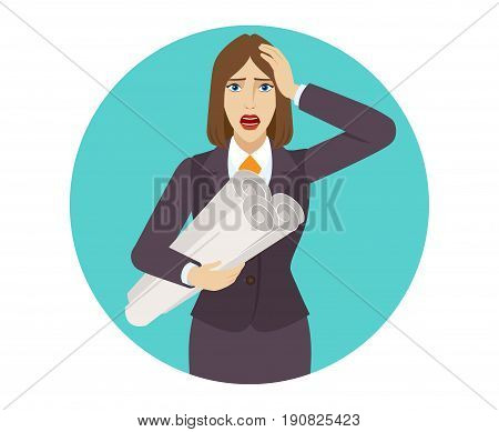 Businesswoman holding the project plans and grabbed his head. Portrait of businesswoman in a flat style. Vector illustration.