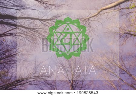 Anahata chakra symbol. Poster for yoga class with sky view.