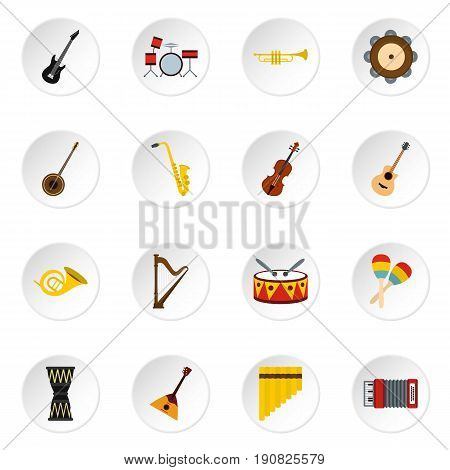 Musical instruments icons set in flat style. Orchestra instruments set collection vector icons set illustration