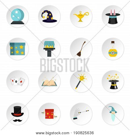 Magic icons set in flat style. Magic tricks set collection vector icons set illustration