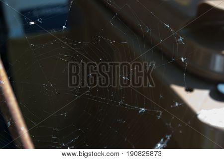 Background with spider net. Foreground focus on a spider net. Dark background.