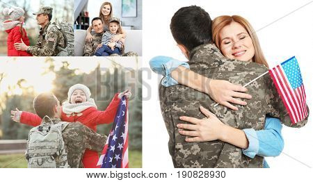 Collage of soldier reunited with family. Concept of patriotism and military service