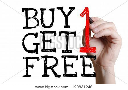 Buy 1 Get 1 Free handwriting on a virtual screen