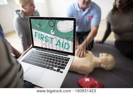 Illustration of healthcare medication first aid kit