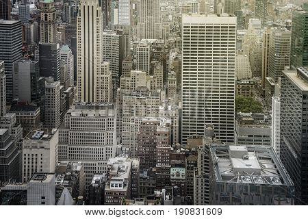 aerial shot of generic highrise buildings and towers in Manhattan, New York City