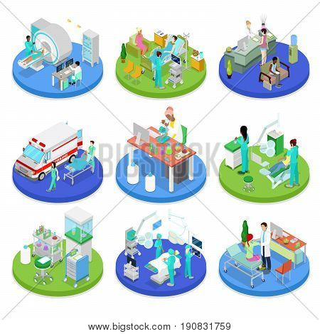 Isometric Medical Clinic. Health Care Concept. Hospital Room, Dentist, MRI. Vector flat 3d illustration