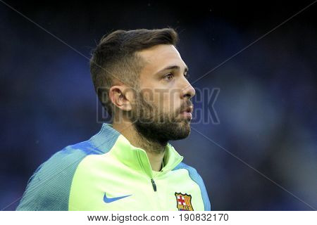 BARCELONA, SPAIN - APRIL, 29: Jordi Alba of FC Barcelona before a Spanish League match against RCD Espanyol at the RCDE Stadium on April 29 2017, in Barcelona Spain