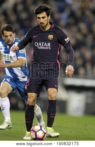BARCELONA, SPAIN - APRIL, 29: Andre Gomes of FC Barcelona during a Spanish League match against RCD Espanyol at the RCDE Stadium on April 29 2017, in Barcelona Spain