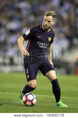 BARCELONA, SPAIN - APRIL, 29: Ivan Rakitic of FC Barcelona during a Spanish League match against RCD Espanyol at the RCDE Stadium on April 29 2017, in Barcelona Spain