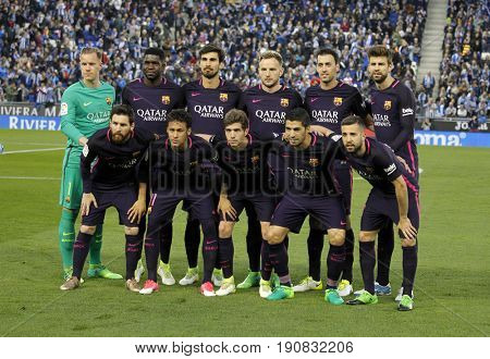 BARCELONA, SPAIN - APRIL, 29: FC Barcelona lineup before a Spanish League match against RCD Espanyol at the RCDE Stadium on April 29 2017, in Barcelona Spain
