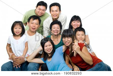 Large Asian family portrait, happy multi generations in group, isolated on white background.