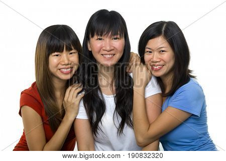 Asian females portrait on white background, ages 20s, 30s, 40s.