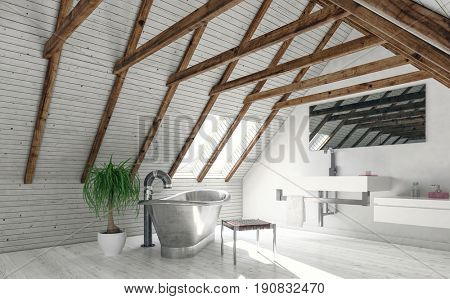 Concept of attic bathroom with white walls, roof window and metal standalone bath of vintage style. 3d rendering