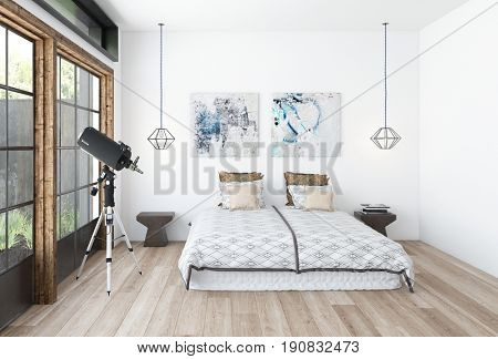 Modern bedroom interior with a telescope in front of a large window and a neat double bed in neutral decor below two pictures on the wall. 3d rendering