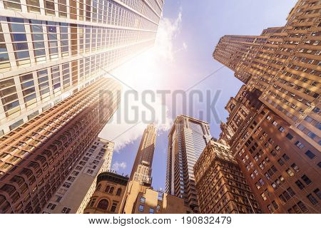 low angle shot of office buildings in the sun, Manhattan financial district, New York City
