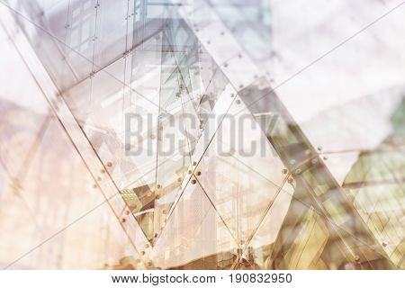 Architectural abstract with warm light and double exposure