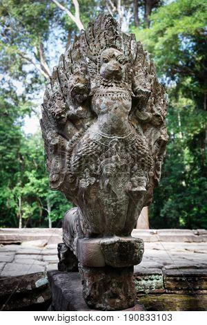 Older Naga statue, Angkor Wat Temple, Cambodia