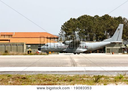 Monte Real, Portugal-april 7: Eads Casa C-295 Portuguese Taxing. Participating In Real Thaw Nato Exe