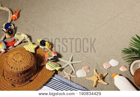 background with sea items
