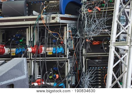 Sound equipment with many wires on a concert