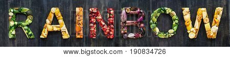 Multi colour color fruits vegetables organic produce alphabet