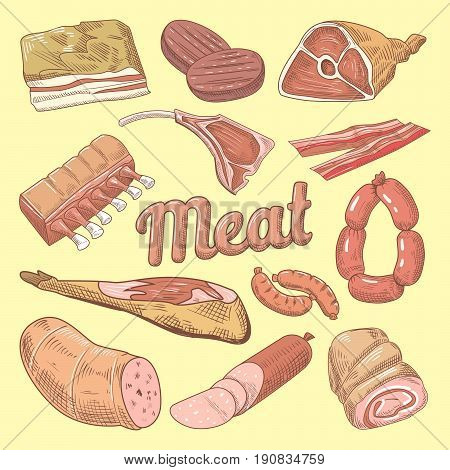 Hand Drawn Meat Doodle with Pork, Sausages and Ham.  Gastronomic Food Products. Vector illustration