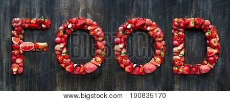 Food spelled with red coloured fresh produce, part of collection of food words formed with single or multi coloured fruits and vegetables