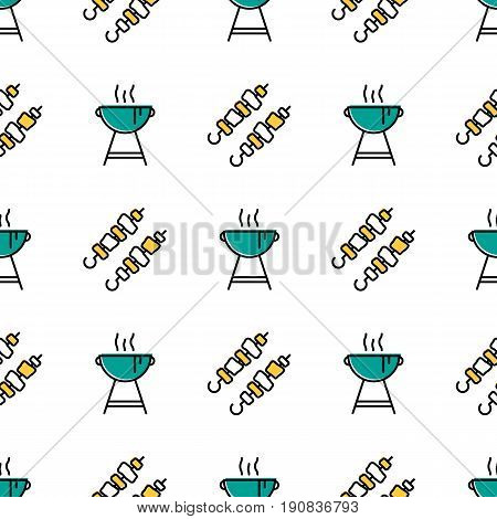 Vector seamless pattern with blue grill stand with smoke for barbecue and two pieces of shish kebab on white background