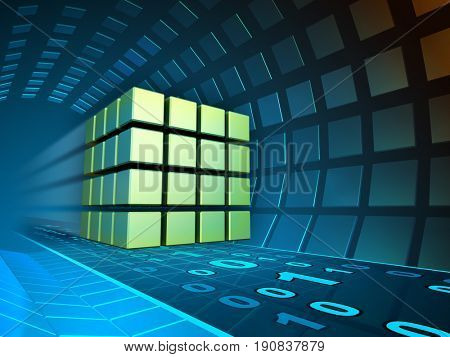Data cube traveling through a tunnel. 3D illustration.