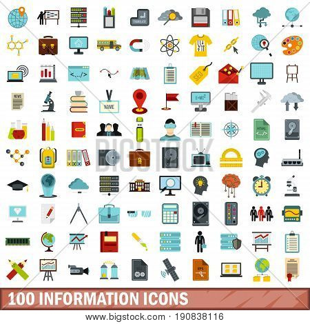 100 information icons set in flat style for any design vector illustration
