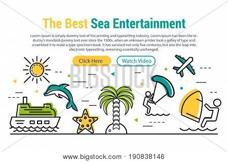 Vector header template of summer sea entertainment. Linear icons, two buttons and sample text