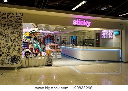 Kota Kinabalu,Sabah-May 27,2017:The Sticky Malaysia outlet,the candy maker outlet at IMAGO shopping complex in Kota Kinabalu,Sabah,Malaysia.Its a candy hand-made,rock candy style lollies & sugar art